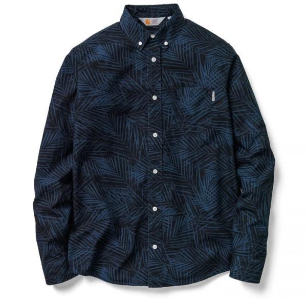 Carhartt - Cayman Shirt - Hemd Langarm - Dark Blue/ Palm Print