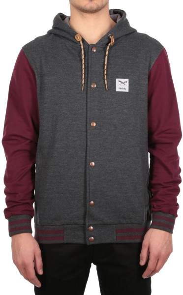 Iriedaily - Daily College Hooded - anthracite red - anthra red - streetwear - sweater - zip hoody