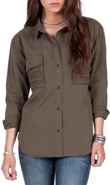 Volcom - Wyld Journey LS - military - volcom damen hemd - hemd volcom - grünes damen hemd