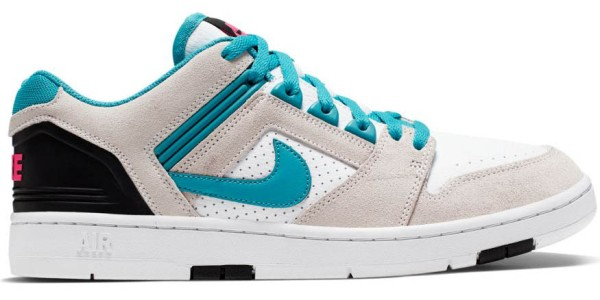 SB Air Force II Low - Nike - white/teal nebula-black-pink flash - Sneakers