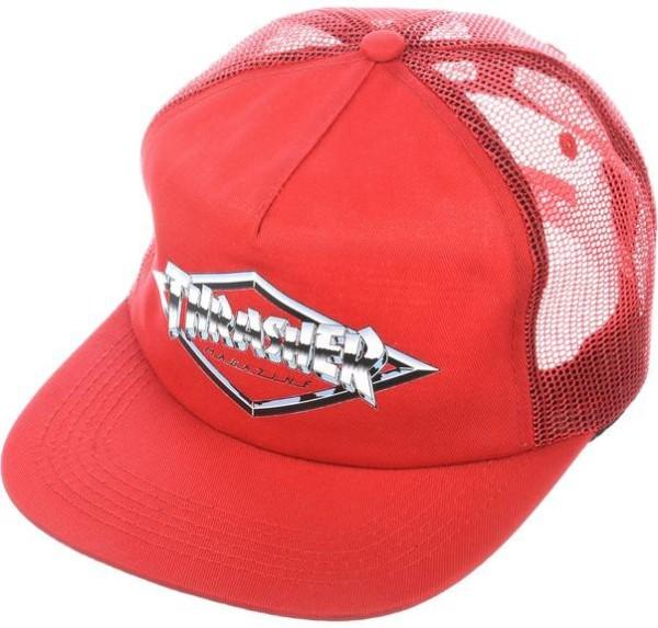 Thrasher - Diamond Emblem Trucker Hat - red