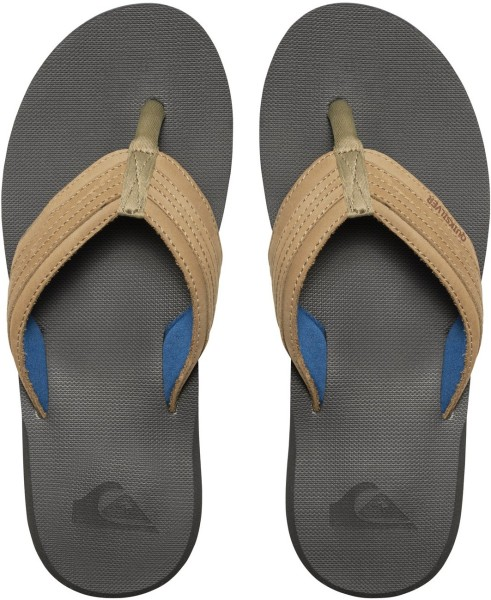 Quiksilver - Costal Oasis - brown brown blue - braune Flip Flops - braune Quiksilver Sandalen - Herren Flip Flops aus Leder - Leder Flip Flops