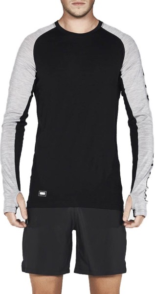 Mons Royale - Temple Tech - Snowwear - Funktionswäsche - Techshirt Langarm - black/grey marl
